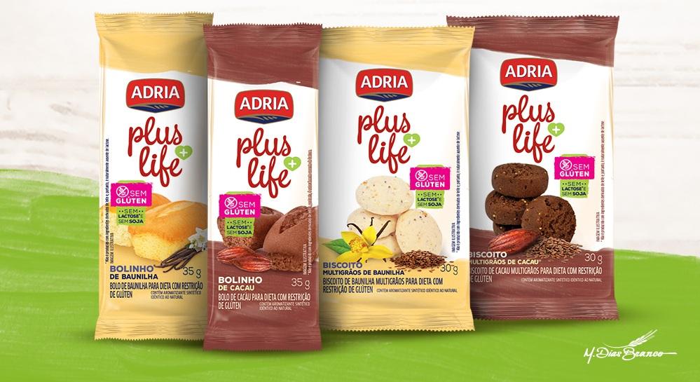 Adria Plus Life amplia portfólio e lança biscoitos e bolinhos sem glúten