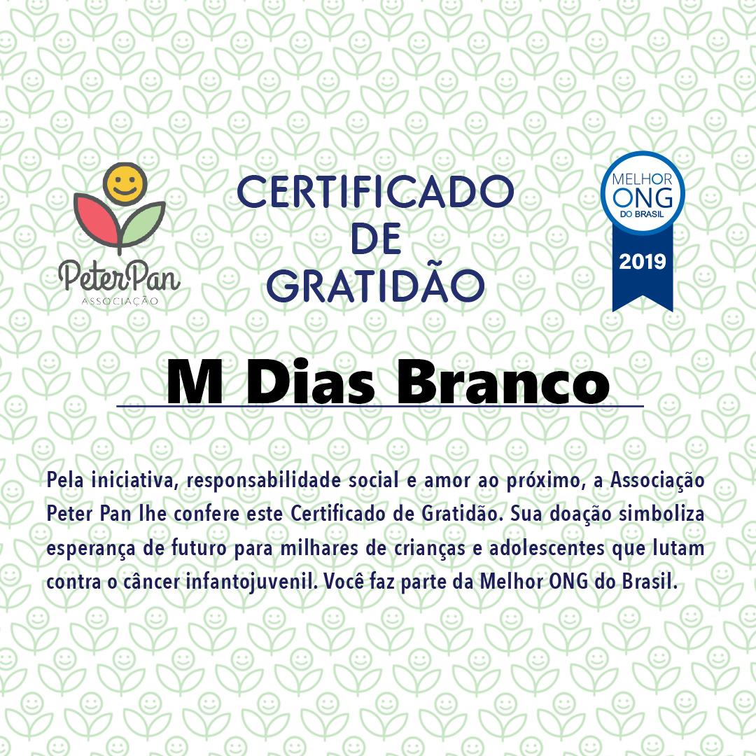 """M. Dias Branco recebe """"Certificado de Gratidão"""" da Associação Peter Pan"""